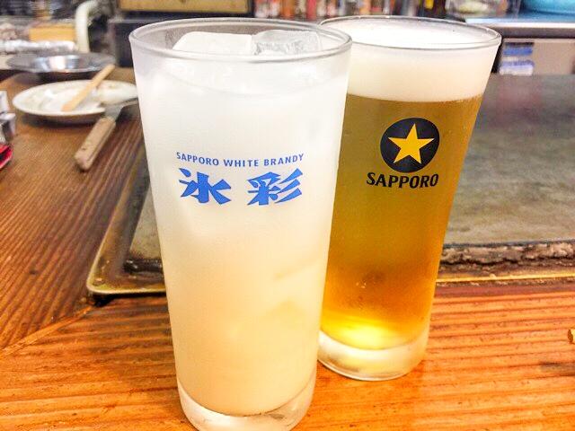 すゑちゃん青木店の生ビールとブルチュー