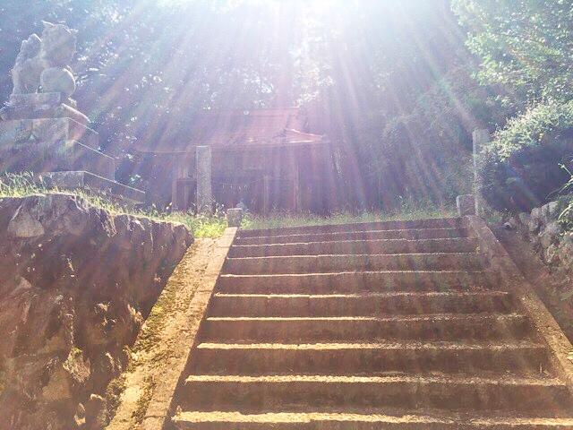 両新田神社の拝殿への階段