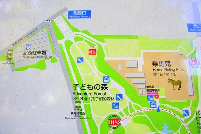 花博記念公園鶴見緑地の北西口、北西駐車場の周辺マップ