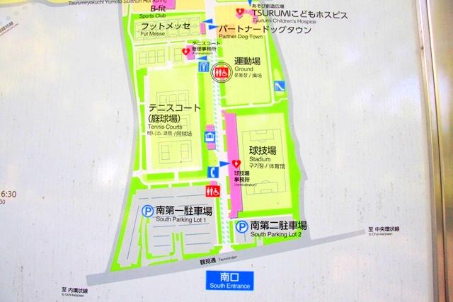 花博記念公園鶴見緑地の南口、南第一駐車場の周辺マップ