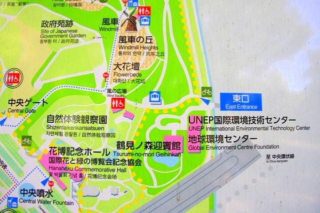 花博記念公園鶴見緑地の東口周辺マップ